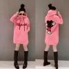 เสื้อคลุมแฟชั่นทรงยาว ฮู้ดดี้ ลายมิกกี้ สีชมพู