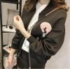 Jacket เสื้อคลุม แขนยาว ซิปหน้า ลาย VIVI สีดำ