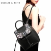 CHARLE & KEITH FRONT FLAP BACKPACK WITH FLOWER *ดำ