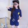 ชุด 2 ชิ้น เสื้อแขนสั้น smile + กางเกงขาสั้น สีน้ำเงิน