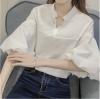 เสื้อเชิ้ตแฟชั่นคอวี แขนพอง ๆ ทรงสวย ดีไซน์เก๋ สีขาว