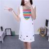 Set เสื้อสายรุ้ง + ชุดเอี๊ยมกระโปรงยีนส์สีขาว