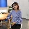 เสื้อแฟชั่นคอวี แต่งแขนจับจีบพองๆ น่ารักสไตล์เกาหลี-ลายตรง