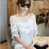 เสื้อแฟชั่นแขนสั้น แต่งไหล่ผ้าลูกไม้สีขาว สไตล์เกาหลี