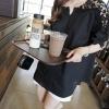 เสื้อแฟชั่นเกาหลี คอวีแต่งผ้าลูกไม้ สีดำ