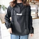 เสื้อแฟชั่น มีฮู้ด แขนยาว ผ้าร่ม ลาย MSCHF สีดำ