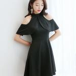 ชุดเดรสแฟชั่น แต่งเว้าไหล่ สวยหวานสไตล์เกาหลี-สีดำ