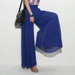 กางเกงขายาวแฟชั่นเกาหลี ผ้าชีฟอง สีน้ำเงิน