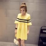 เสื้อแฟชั่น มินิเดรส แขนตุ๊กตา สีเหลือง
