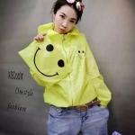 เสื้อคลุมมีฮู้ด ซิปหน้า ผ้าร่ม ลายหน้ายิ้ม สีเหลืองอมเขียว