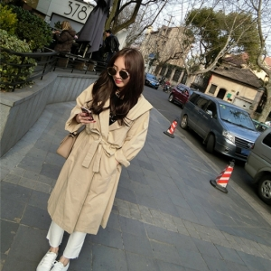 เสื้อคลุมแฟชั่นทรงยาว สไตล์เกาหลี มีฮู้ด สีกากี