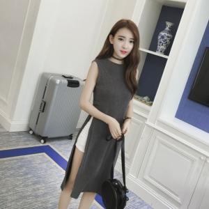 เสื้อแฟชั่นตัวยาวผ่าข้าง คอกลม แขนกุด สไตล์เกาหลี สีเทา