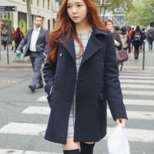 Dark Blue-เสื้อโค้ทกันหนาว สไตล์เกาหลี รุ่นกระดุม 2 แถว