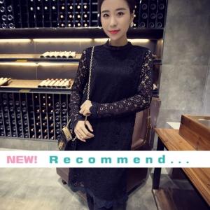 ชุดเดรสผ้าลูกไม้สีดำ แขนยาวใส่ออกงาน สวยหรูสไตล์เกาหลี