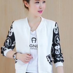 เสื้อคลุมแฟชั่น ซิปหน้า แขนแต่งลายมิกกี้ สีขาว