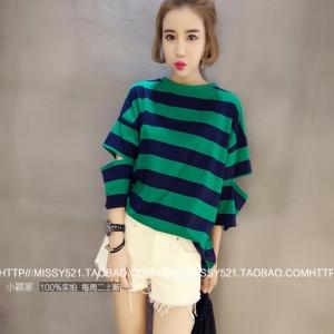 เสื้อแฟชั่นสไตล์เกาหลี แขนยาวแต่งขาดศอก ลายขวาง สีเขียว