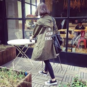 เสื้อคลุมฮู้ด ทรงยาวสไตล์เกาหลี ผ้าร่มเนื้อเรียบ ไม่หนา สีเขียว