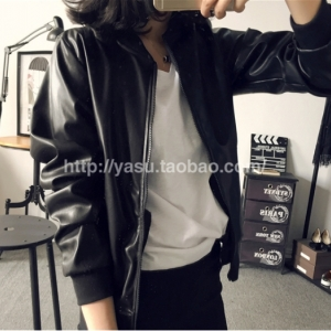 เสื้อคลุม แจ็คเก็ตซิป หนังพียู สีดำ