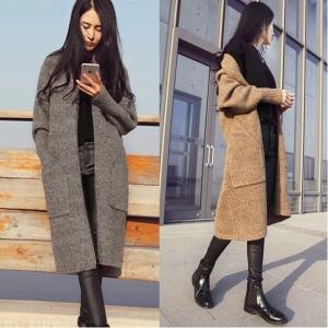 เสื้อคลุมไหมพรมกันหนาว ยาว34 นิ้ว เรียบหรู ดูดี สไตล์เกาหลี