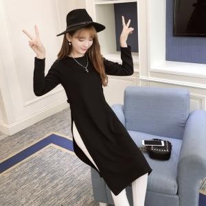 เสื้อแฟชั่นแขนยาว ผ่าข้าง ทรงยาวสไตล์เกาหลี สีดำ