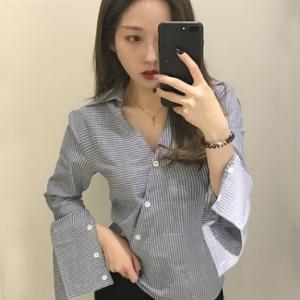 เสื้อเชิ้ตแฟชั่น สไตล์เกาหลี คอวีกระดุมเฉียง