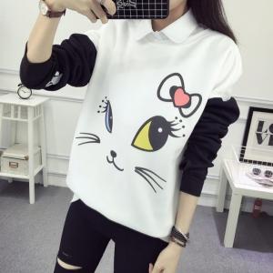 เสื้อแขนยาว แฟชั่นกันหนาว ลายแมวน่ารัก สีทูโทนขาวดำ
