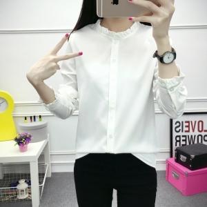 เสื้อเชิ้ตแฟชั่นแขนยาว คอระบาย สีขาว