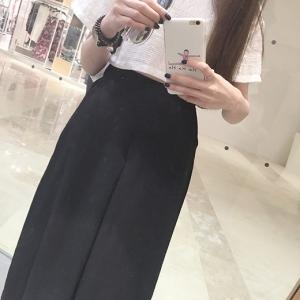 กางเกงแฟชั่นขายาว ทรงขากว้าง สีดำ