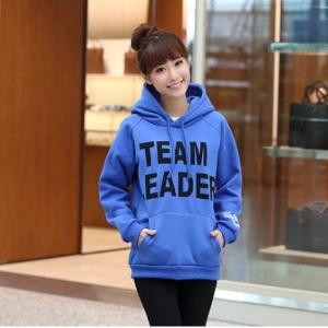 เสื้อคลุมฮู้ด กันหนาว กระเป๋าหน้า TEAM LEADER สีฟ้า