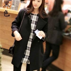 เสื้อโค้ททรงยาว กันหนาว ผ้าดีบุซับในกันลม สีดำ