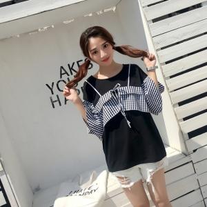 เสื้อแฟชั่น แต่งผ้าลายสก๊อตแขนระบายสองชั้นสุดน่ารักสไตล์เกาหลี-สีดำ