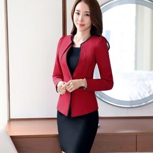เสื้อสูทผู้หญิง แบบสวยสไตล์เรียบหรูไร้ปก สีแดง