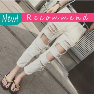กางเกงยีนส์แฟชั่น แต่งขาด ๆ เซอร์ ๆ สีขาว
