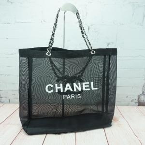 Chanel Black Mesh Tote Bag *โซ่เงิน