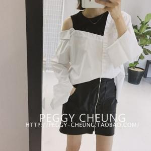 เสื้อเชิ้ตแฟชั่นสไตล์เกาหลี แต่งแขนกุดด้านใน สีขาว