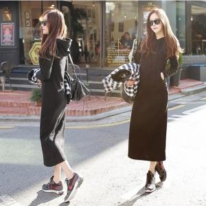 Maxi dress เดรสยาวฮูดดี้ แขนยาว สีดำ
