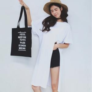 เสื้อแฟชั่นตัวยาวสไตล์เกาหลี แต่งผ่าสูงด้านข้าง สีขาว