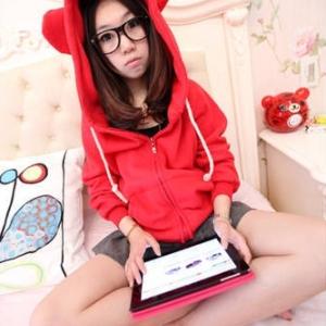 แจ็คเก็ตฮู้ดแต่งหู เสื้อคลุมกันหนาว สีแดง