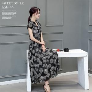 ชุดเดรสยาว ผ้าชีฟองสีดำ พิมพ์ลาย