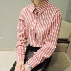 เสื้อเชิ้ตแฟชั่นแขนยาว ลายทาง สีแดง