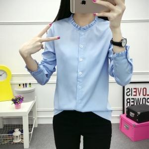 เสื้อเชิ้ตแฟชั่นแขนยาว คอระบาย สีฟ้า