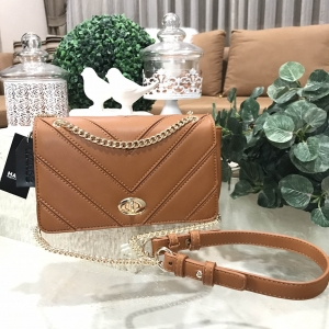 MARCS QUILTED SHOULDER BAG WITH CHAIN *น้ำตาล