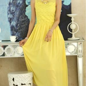 ชุดเดรสยาว เสื้อแขนกุดผ้าลูกไม้ ต่อกระโปรงชีฟองยาว สีเหลือง