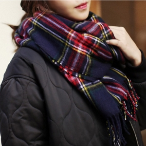 ผ้าพันคอกันหนาว ลายสก๊อต สไตล์เกาหลี โทนสีน้ำเงิน