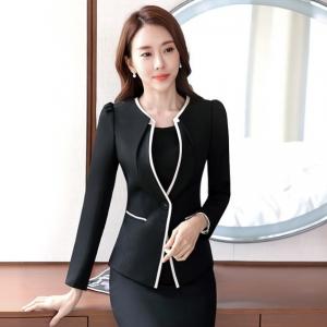 เสื้อสูทผู้หญิง แบบสวยสไตล์เรียบหรูไร้ปก สีดำ
