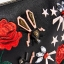 ZARA EMBROIDERED ROSE & JEWEL DETAIL BLACK CLUTCH BAG PURSE WITH CHAIN STRAP thumbnail 5