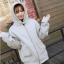 เสื้อคลุมฮู้ด แจ็คเก็ตซิป แขนยาวกันหนาว สีเทา thumbnail 6