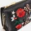 ZARA EMBROIDERED ROSE & JEWEL DETAIL BLACK CLUTCH BAG PURSE WITH CHAIN STRAP thumbnail 4