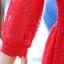 ชุดเดรสยาว ผ้าลูกไม้ สีแดงสด S M L thumbnail 6