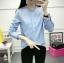 เสื้อเชิ้ตแฟชั่นแขนยาว คอระบาย สีฟ้า thumbnail 3